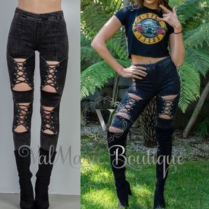 Lace up rocker jeggings